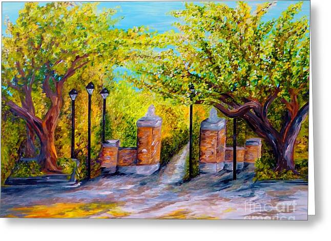 The Tiger Greeting Cards - Toomers Corner Oaks Greeting Card by Eloise Schneider