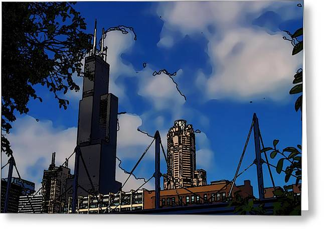 Toon Greeting Cards - Toon Chicago Greeting Card by Chris Flees
