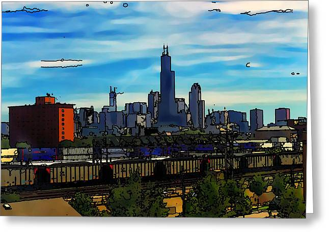 Toon Greeting Cards - Toon Chicago from the train yards Greeting Card by Chris Flees