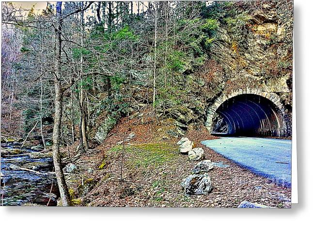 Tennessee River Mixed Media Greeting Cards - Toon Tunnel Greeting Card by Andooga Design