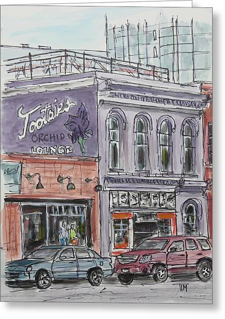 Tim Ross Greeting Cards - Tootsies Orchid Lounge Greeting Card by Tim Ross