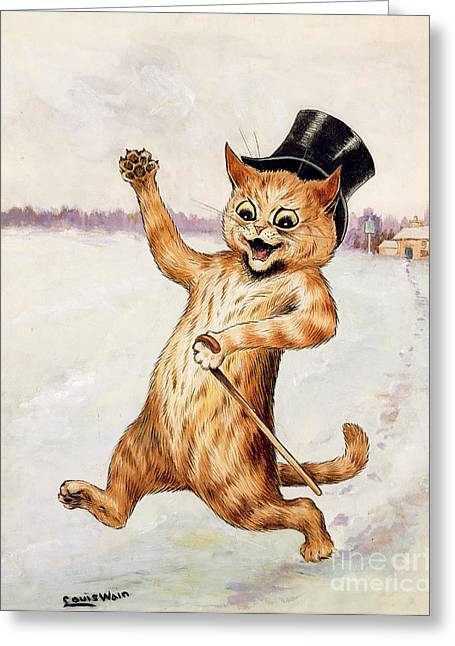 Snow-coated Greeting Cards - Top Cat Greeting Card by Louis Wain