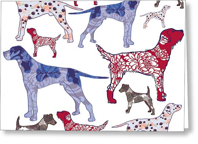 Canine Digital Art Greeting Cards - Top dogs Greeting Card by Sarah Hough