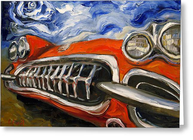 Headlight Paintings Greeting Cards - Top Down Greeting Card by Carole Foret