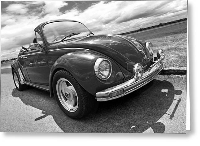 Beetle Car Interior Greeting Cards - Top Down Cruising - VW Bug Black and White Greeting Card by Gill Billington