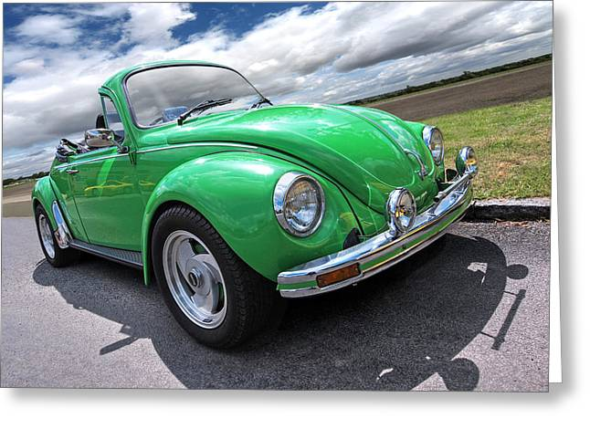 Beetle Car Interior Greeting Cards - Top Down Cruising - VW Bug Greeting Card by Gill Billington