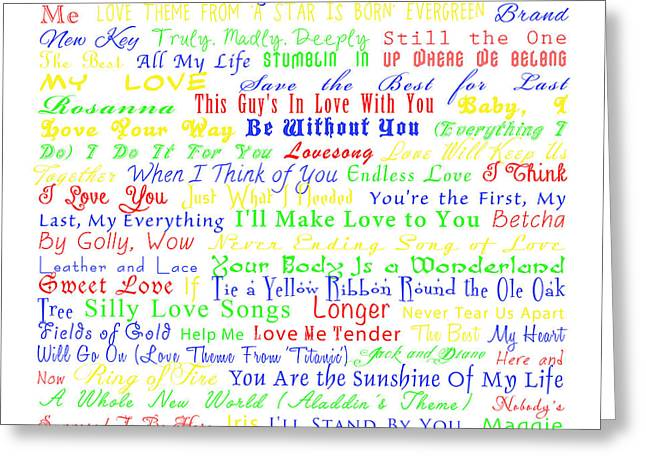 Love Me Tender Greeting Cards - Top Love Songs Greeting Card by Syndi Phillips
