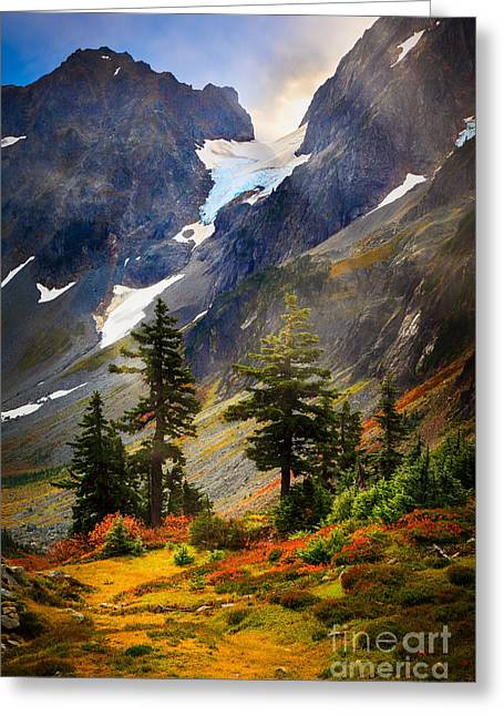 North Cascades Greeting Cards - Top of Cascade Pass Greeting Card by Inge Johnsson