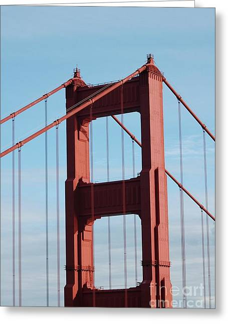 Struckle Greeting Cards - Top Of Golden Gate Bridge Greeting Card by Kathleen Struckle