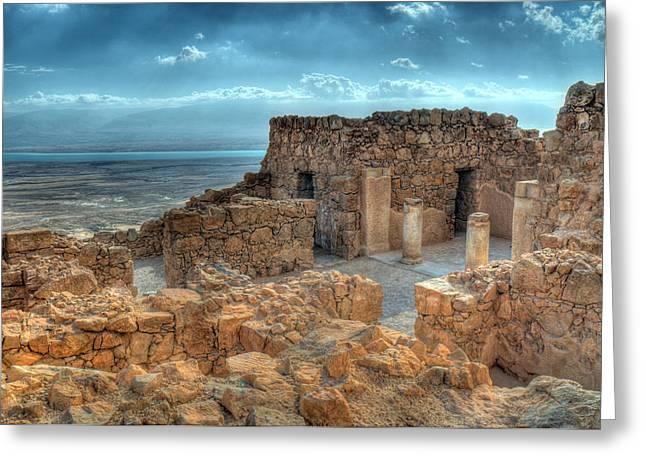 Top Of Masada Greeting Card by Don Wolf