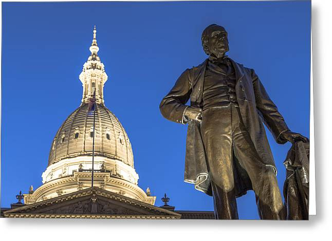 Michigan Ave Greeting Cards - Top of Michigan State Capital  Greeting Card by John McGraw