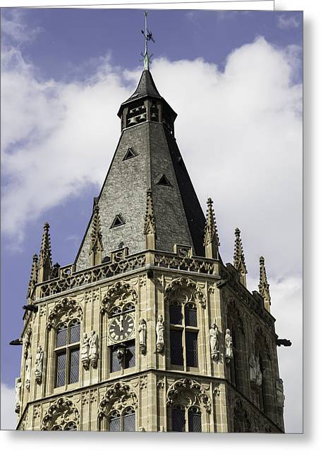 Self Confidence Greeting Cards - Top of Rathaus Tower Cologne Germany Greeting Card by Teresa Mucha
