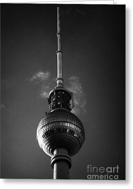 Berlin Germany Greeting Cards - top of the berliner fernsehturm Berlin TV tower symbol of east berlin Germany Greeting Card by Joe Fox