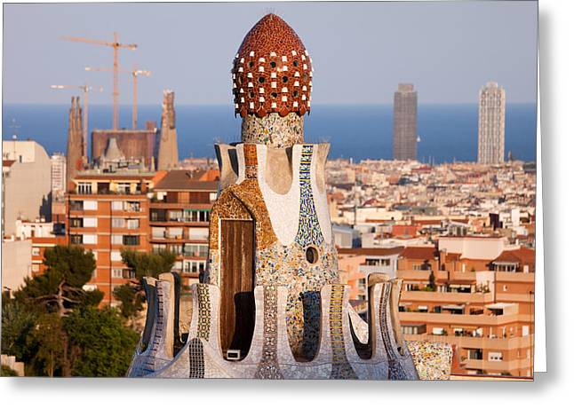 Catalunya Greeting Cards - Top of the Casa del Guarda in Park Guell Greeting Card by Artur Bogacki