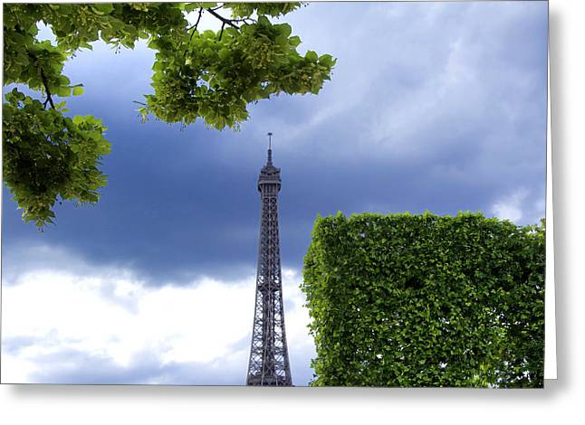 Transmitter Greeting Cards - Top of the Eiffel Tower. Paris. France. Greeting Card by Bernard Jaubert