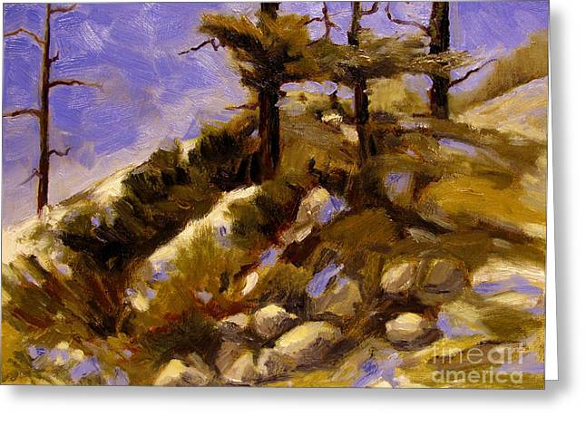 The Hills Greeting Cards - Top of the Hill Greeting Card by Charlie Spear