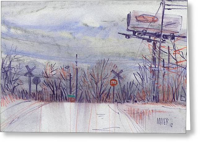 Railroad Crossing Greeting Cards - Top of the Hill Greeting Card by Donald Maier