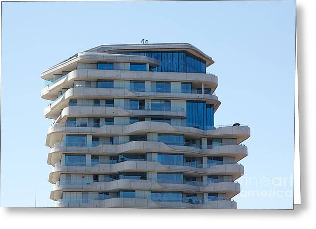 Brutalism Greeting Cards - Top of the Marco-Polo-Tower Hamburg Greeting Card by Jannis Werner