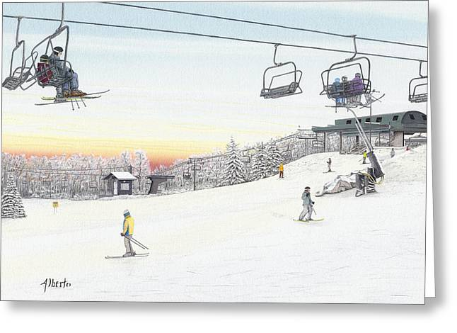 Spring Scenes Drawings Greeting Cards - Top of the Mountain at Seven Springs Greeting Card by Albert Puskaric