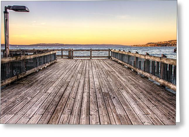 Steilacoom Greeting Cards - Top of the Ocean Pier Greeting Card by Rob Green