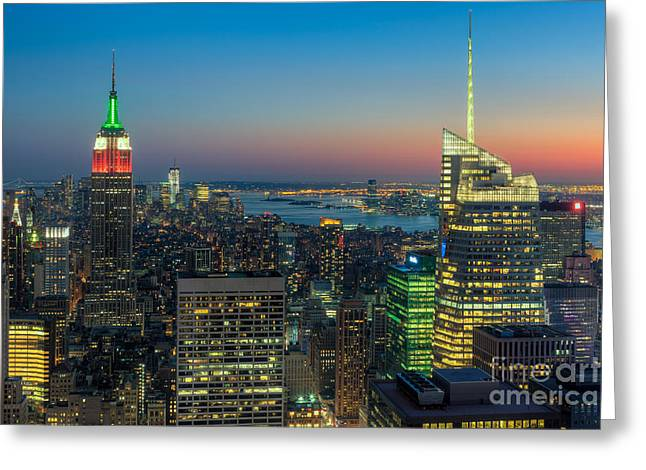 Top Of The Rock Greeting Cards - Top of the Rock Twilight I Greeting Card by Clarence Holmes
