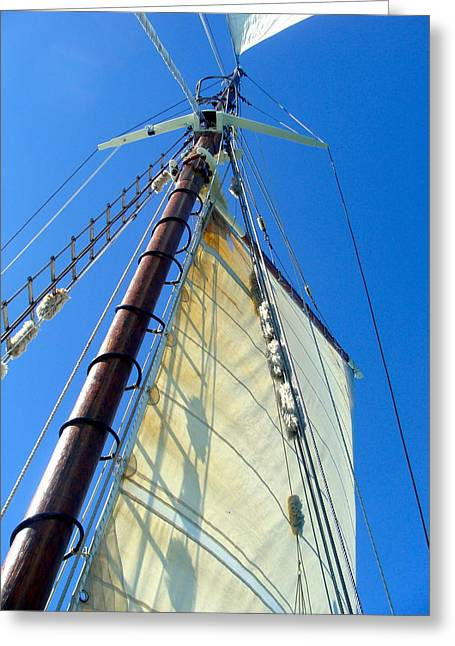 Masts Greeting Cards - Top of the Ship Greeting Card by Antoinette  Andersen