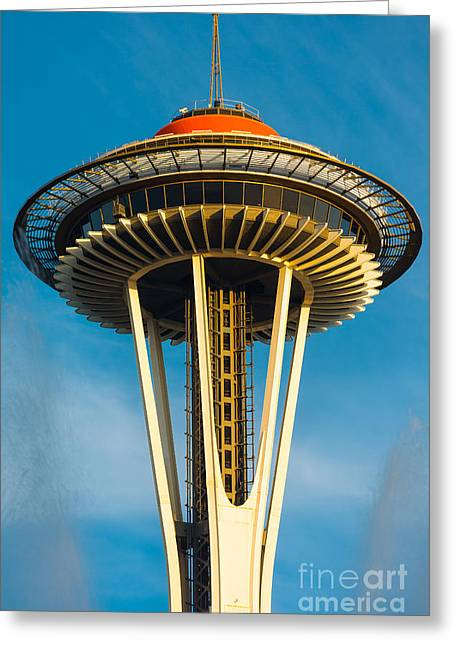 Architecture Greeting Cards - Top of the Space Needle Greeting Card by Inge Johnsson