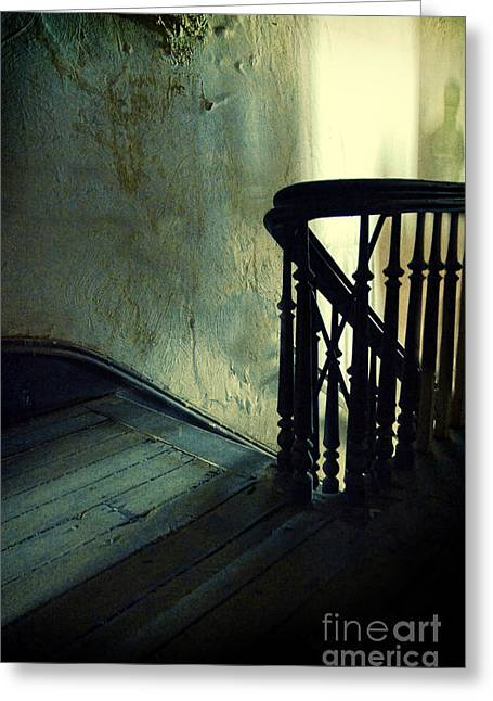 Haunted Woods Greeting Cards - Top of the Stairway Shadow Greeting Card by Jill Battaglia