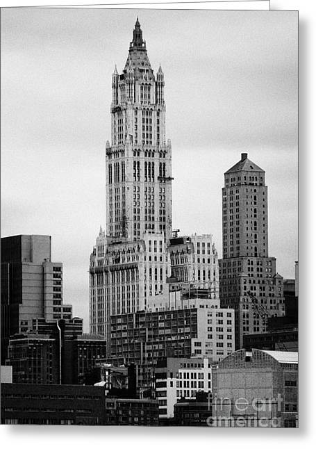 Manhatan Greeting Cards - top of the Woolworth and transportation building 233 Broadway new york city Greeting Card by Joe Fox