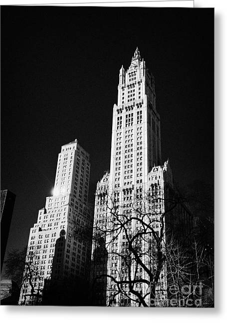 Manhatan Greeting Cards - top of the Woolworth building 233 Broadway and transportation building new york Greeting Card by Joe Fox