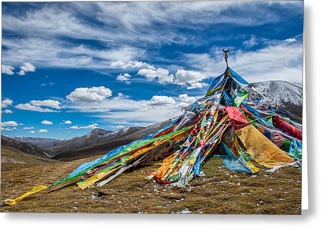 Tibetan Buddhism Greeting Cards - Top of the World Greeting Card by James Wheeler
