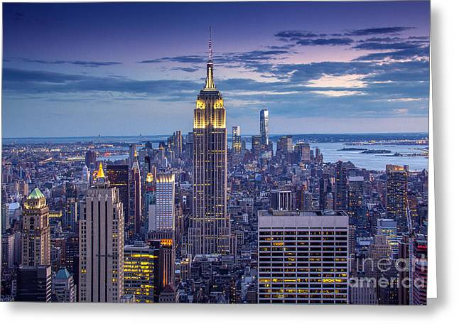 New York City Skyline Photographs Greeting Cards - Top of the World Greeting Card by Marco Crupi