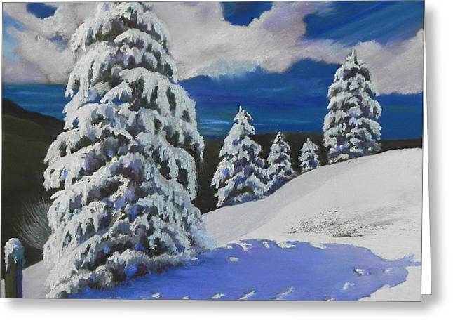 Snowstorm Pastels Greeting Cards - Top of the World Greeting Card by Mary Olivera