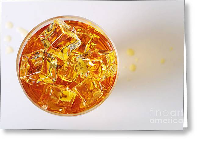 Black Top Greeting Cards - Top view on Drink Greeting Card by Carlos Caetano