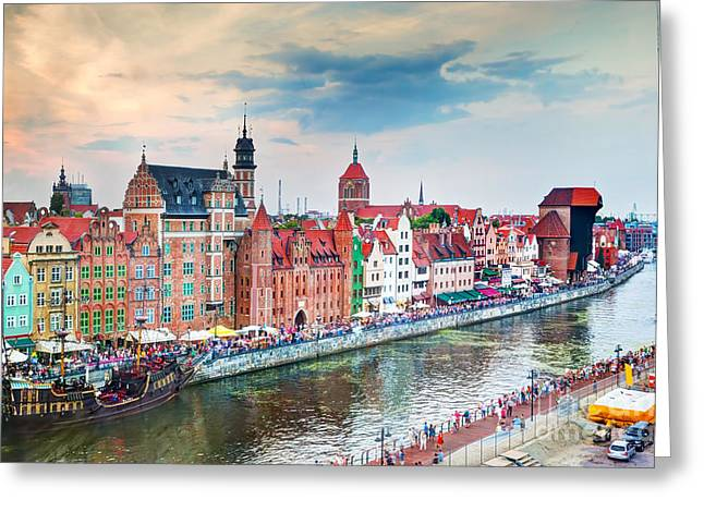 Polish Culture Greeting Cards - Top view on Gdansk old town and Motlawa river Poland at sunset Greeting Card by Michal Bednarek