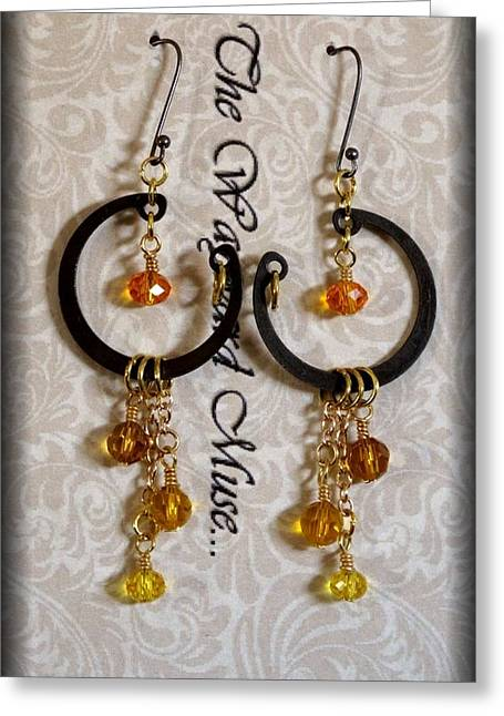 Lampwork Greeting Cards - Topaz drops Greeting Card by Jan Brieger-Scranton