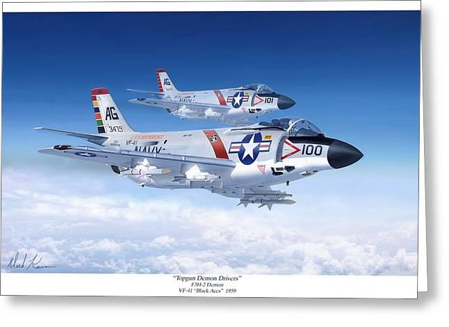 Cuban Missile Crisis Greeting Cards - Topgun Demon Drivers Greeting Card by Mark Karvon