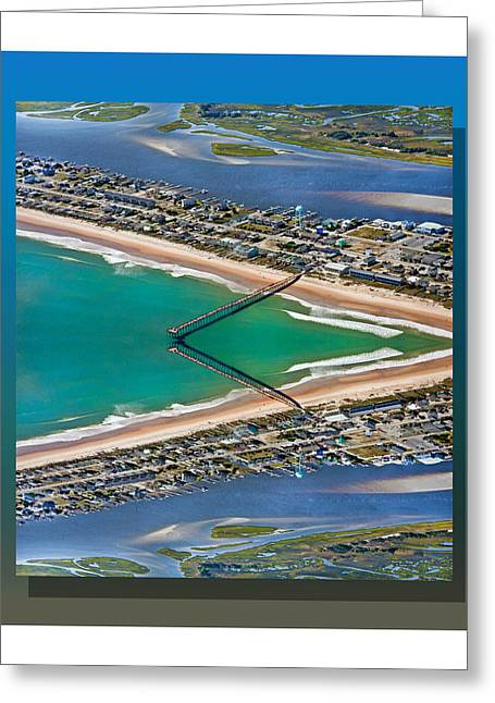 Blue Green Water Digital Greeting Cards - Topsail Beach Aerial Reflection Greeting Card by Betsy C  Knapp