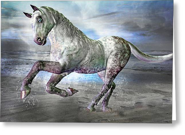 North Shore Mixed Media Greeting Cards - Topsail Gallop Greeting Card by Betsy A  Cutler