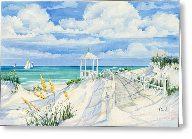 Blue Sailboat Greeting Cards - Topsail Hill Greeting Card by Paul Brent