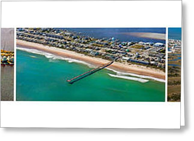 Surf City Greeting Cards - Topsail Island Aerial Panels Greeting Card by Betsy C  Knapp