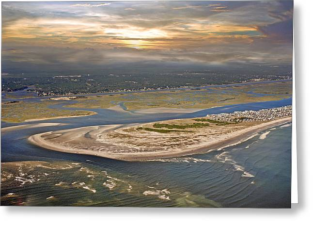 Aerial Greeting Cards - Topsail Island Paradise Greeting Card by Betsy C  Knapp