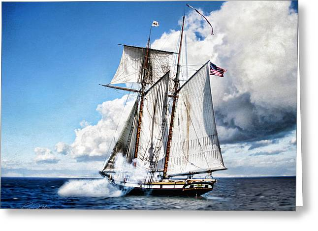 Schooner Digital Greeting Cards - Topsail Schooner Greeting Card by Peter Chilelli