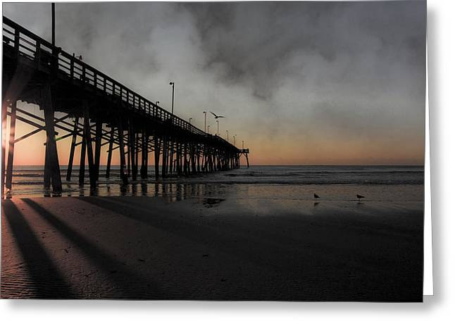 Foggy Beach Greeting Cards - Topsail Sunrise Greeting Card by Betsy A  Cutler