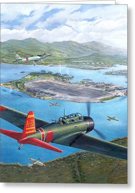 December Greeting Cards - Tora Tora Tora The Attack on Pearl Harbor Begins Greeting Card by Stu Shepherd