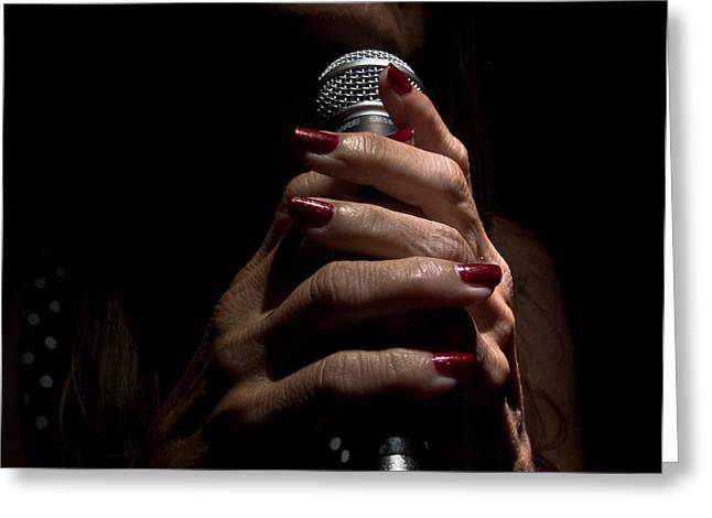 Mic Greeting Cards - Hands Of A Torch Singer Greeting Card by Robert Frederick