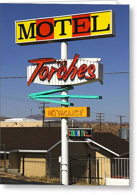 Signed Digital Art Greeting Cards - Torches Motel  Greeting Card by Mike McGlothlen