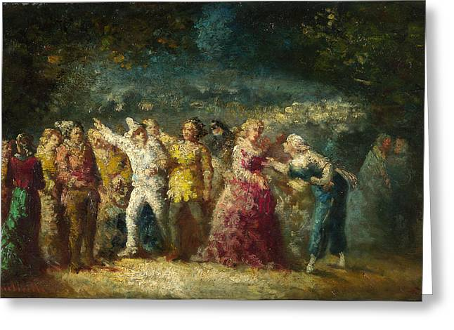 Torchlight Greeting Cards - Torchlight Procession Greeting Card by Adolphe Monticelli