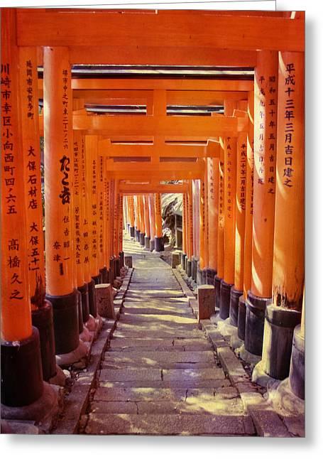 Torii Gates At The Fushimi Inari Shrine Greeting Card by Juli Scalzi