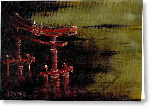 Rivets Paintings Greeting Cards - Torii Greeting Card by Julio R Lopez Jr